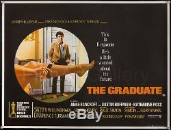 THE GRADUATE 1970 UK Quad poster linen-backed Mike Nichols Film/Art Gallery