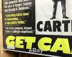 VF 1971 GET CARTER Michael Caine Original Rolled Quad Movie PRESS POSTER Rare
