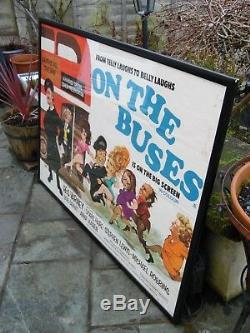 Vintage Original British UK ON THE BUSES 1971 Quad Cinema Movie Poster Framed