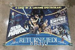 Vtg Star Wars EMPIRE STRIKES BACK Return Of The Jedi BRITISH QUAD MOVIE POSTER