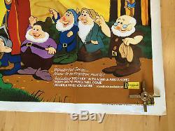 Walt Disney's Snow White & The Seven Dwarfs British Movie Quad Poster RR 1970's