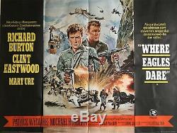 Where Eagles Dare Original British Movie Quad Poster 1968 Burton Eastwood