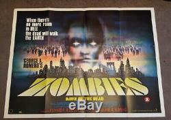ZOMBIES DAWN OF THE DEAD 1978 ORIGINAL UK Cinema QUAD Movie POSTER HORROR
