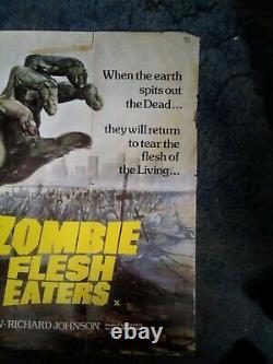 Zombie Flesh Eaters. Original Uk Quad Film Poster
