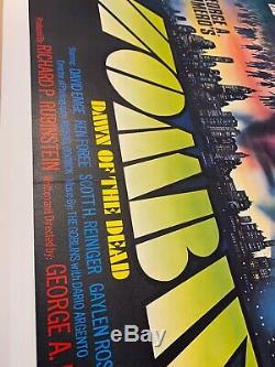 Zombies Dawn Of The Dead Original UK Film Poster LINEN BACKED 1980 Quad withcert