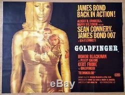 1964 Affiche De Film Cinématographique British Quad Goldfinger Originale (style A) James Bond