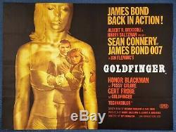 1964 Goldfinger D'origine Britannique Quad Affiche De Film De Cinéma (style A) James Bond