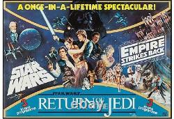 1983 The Star Wars Trilogy British Quad 28 X 40 Rare Triple Bill Affiche