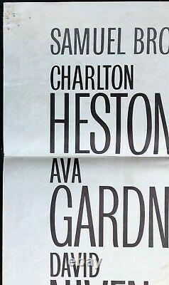 55 Jours À Pékin Affiche De Cinéma Originale Quad Charlton Heston Ava Gardner 1963