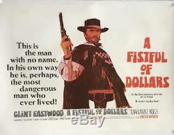 A Fistful Of Dollars Uk Quad (1967) Entoilée Film Affiche Originale
