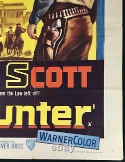 Affiche De Cinéma De Bounty Hunter Original Quad Randolph Scott 1954 Western Very Rare