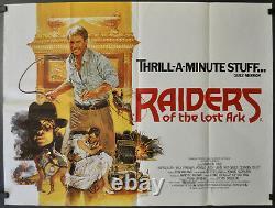 Affiche De Cinéma Raiders Of The Lost Ark 1981 29x40 British Quad Harrison Ford