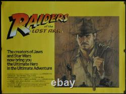 Affiche De Cinéma Raiders Of The Lost Ark 1981 30x40 Uk Quad Harrison Ford Amsel