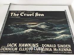Affiche De Cinéma Sur Le Quadruple-britannique De Style Lin Rare La Mer Cruelle 1953