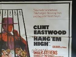 Affiche De Film Originale De Hang' Em High Uk Quad 1968 Clint Eastwood