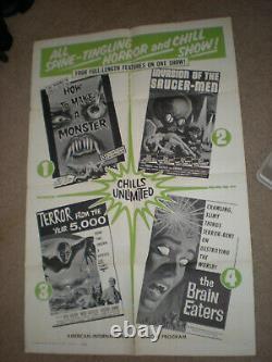 Affiche De Théâtre Orig Aip Horror/scifi Quad Bill 1sht Invasion De La Saucermen