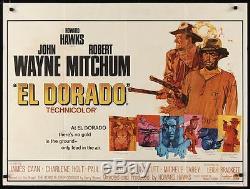 Affiche Du Film British Quad 30x40 El Dorado John Wayne Robert Mitchum