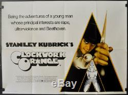 Affiche Malcolm Mcdowell Poster Film Quad Britannique Orange 1972 Orig 30x40 Britannique