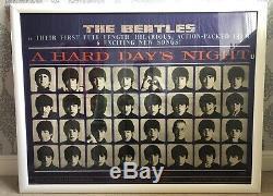 Affiche Originale Britannique En Quad Du Beatles Pour Le Film Une Nuit Difficile