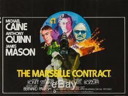 Affiche Originale De The Contract Contract De Marseille, Uk Quad, Film / Film 1974, Michael Caine