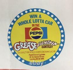 Affiche Vintage Quad Film'grease' Originale, John Travolta, + 1979 Autocollant Pepsi