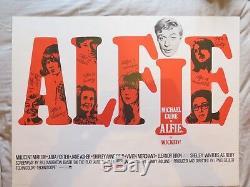 Alfie Originale 1966 Film Quad Britannique Affiche Du Film Michael Caine Entoilée