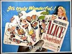 Alice Au Pays Des Merveilles Original Quad Movie Poster Walt Disney Animation 1951