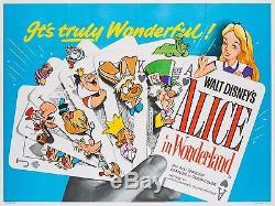 Alice Au Pays Des Merveilles, Quad Uk, Disney, Affiche De Film / Film
