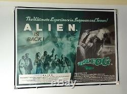 Alien / The Fog (1979/1980) Affiche Originale Du Film Quad Britannique Rare Double Facture