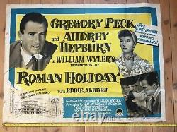 Audrey Hepburn Roman Holiday Original Uk Quad Film Poster Rare