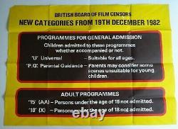British Board Of Film Censors 1982 Original Uk Quad Cinema Poster Rare