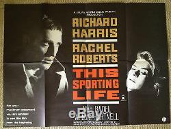 Ce Sporting Life Original Uk Quad Affiche De Film Rare! Richard Harris
