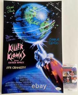 Chiodo Brothers & John Massari Quad Signé Tueur Klowns 11x17 Affiche Jsa Coa