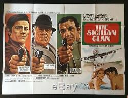 Cinéma Sicilien Du Clan Original Quad Movie Poster Jean Gabin 1969