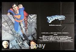 Cinemasterpieces Superman Rare Britannique Uk Quad Original Movie Poster 1978