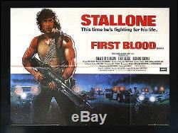 Cinemasterpieces Uk Premier Quad British Blood Affiche Du Film Rambo 1982