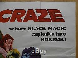 Craze (1974) Film Original Britannique / Affiche De Film, Horreur, Jack Palance, Rare