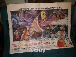 D'or De Sinbad Voyage Film / Film Original Affiche Quad! Ray Harryhausen