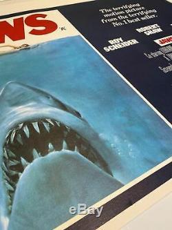 Dents De La Mer Du Royaume-uni British Quad Entoilée (1975) Original Premier Film Poster De Sortie