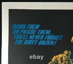 Dirty Dozen Original Quad Movie Poster Linen Soutenu 1967 Lee Marvin Exc Cond