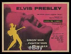 Elvis Presley 1956 Love Me Tender Rolled Jamais Plié Britannique Quad Affiche Du Film