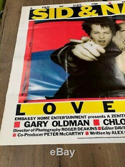 Encadré Sex Pistols Sid & Nancy Love Kills Énorme Rare Uk Quad Punk Affiche Du Film