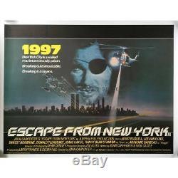 Évasion De New-york Affiche Originale Britannique Du Film Quad, On Linen 1981 John