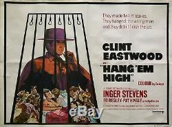 Film Original Pendez-les Haut Et Court Quad Poster 1968 Clint Eastwood Arnaldo Putzu Art