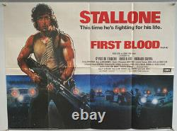 First Blood (rambo) Uk British Quad (1982) Affiche Originale Du Film