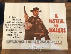 Fistful Of Dollars D'origine Uk Quad Filmplakat 1967 Jahr Clint Eastwood