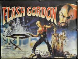 Flash Gordon 1980 Orig 30x40 Brit Quad Affiche De Film Sam J. Jones Max Von Sydow