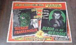 Frankenstein Chez Les Adolescentes Et Le Sang Est Mon Patrimoine 1957-britannique Royaume-uni Quad Affiche De Film