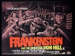 Frankenstein Et Le Monstre De L'enfer Marteau Cushing Horror 1974 Quad Britannique