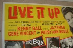Gene Vincent, Heinz Originale 1963 Affiche Quad Britannique Pour Le Film Live It Up 30x40